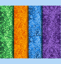 abstract backgrounds set with colorful pixels vector image