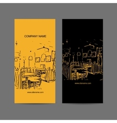 Abstract cafe interior silhouette business card vector