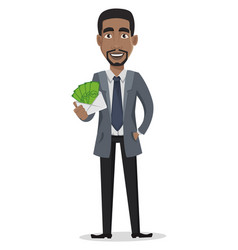 African american business man cartoon character vector
