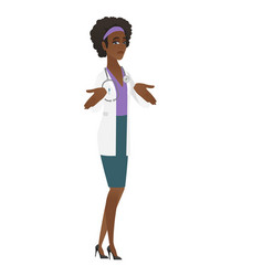 african confused doctor shrugging shoulders vector image