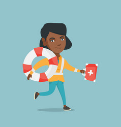 african paramedic running with a first aid box vector image