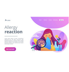 Allergic diseases concept landing page vector