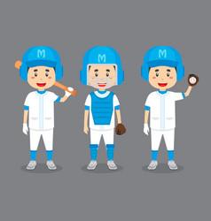Baseball players cartoon with various activities vector