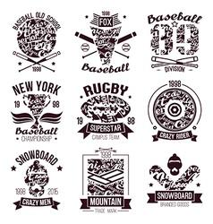 Baseball rugby snowboard skateboard sport emblems vector