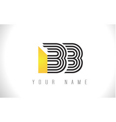 Bb black lines letter logo creative line letters vector