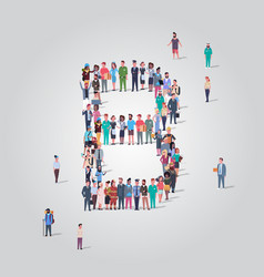 Big people crowd forming shape letter b different vector