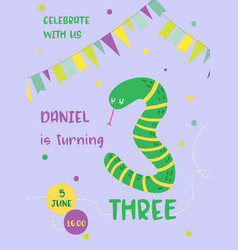 Birthday baby card with snake and number three vector