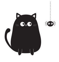 Black cute sitting cat kitten looking on hanging vector