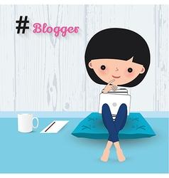 Blogger woman laptop cartoon vector