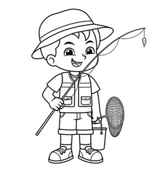 boy ready for fishing on the lake bw vector image