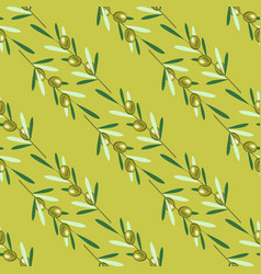 Branches of olive tree seamless pattern green vector