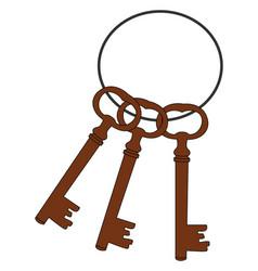 bronze keys on white background vector image