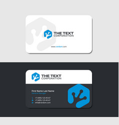 Business card with reptile fingerprint in blue vector