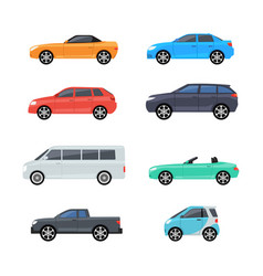 car side view profile icon modern sedan bus vector image