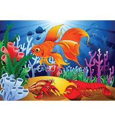 Cartoon sealife background vector image
