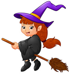 cartoon witch flying vector image