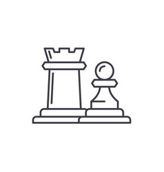 chess pieces rook and pawn line icon concept vector image
