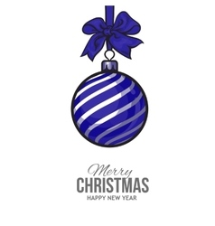 Christmas balls with blue ribbon and bows vector