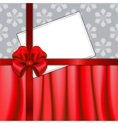 Christmas card with red ribbon and textile vector image