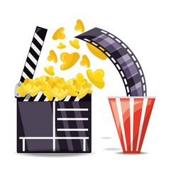 Clapperboard with popcorn and filmstrip scene vector