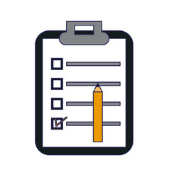 Clipboard with checklist and pencil vector