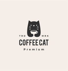 coffee cat hipster vintage logo icon vector image