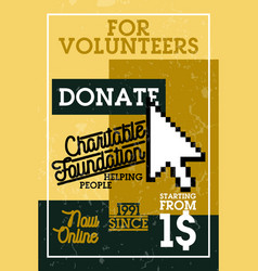 Color vintage charitable foundation banner vector