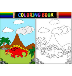 coloring book with cartoon stegosaurus vector image