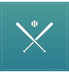 Crossed baseball bats and ball vector