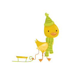 Cute little yellow duckling character in green vector