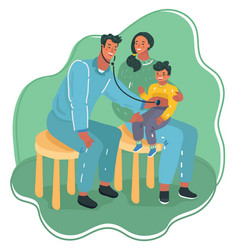 doctor listens to breathing stethoscope to kid vector image