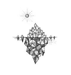 Dotwork polygonal mountain vector