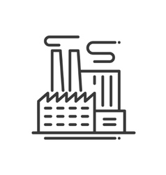 Factory Building - line design single isolated vector image