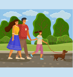 family walks in nature with dog city park trees vector image