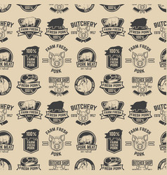 Farm fresh pork meat labels pattern design vector