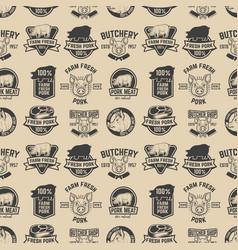 farm fresh pork meat labels pattern design vector image