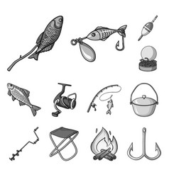 fishing and rest monochrome icons in set vector image