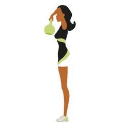 Fitness woman lifting kettlebell 10 vector