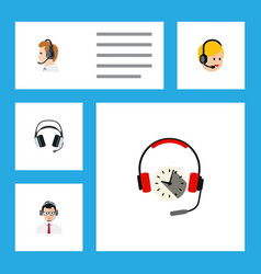 flat call set of telemarketing earphone vector image