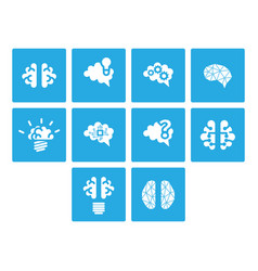 Flat color brain icon set vector