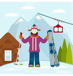 flat design on ski and snowboard theme vector image