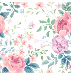 Floral seamless pattern garden flower rose and vector