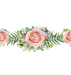 floral seamless pattern with pink rose flowers vector image