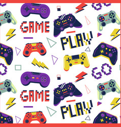 Gamer pattern seamless print with game controller vector