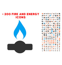 Gas flame icon with bonus energy clipart vector