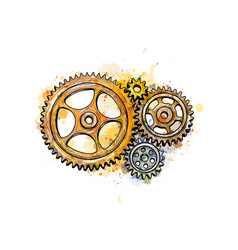 gears from a splash watercolor hand drawn vector image