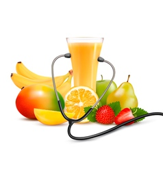 Group fruit and a stethoscope dieting concept vector