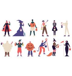 halloween characters people in costumes vector image