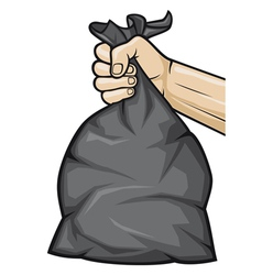 hand holding black plastic trash bag vector image