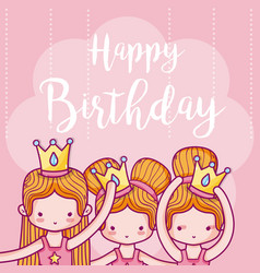 Happy birthday card with girls ballet dancers vector